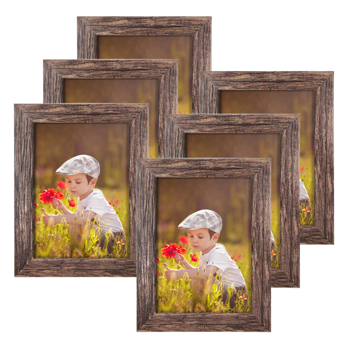 Q.Hou 5x7 Picture Frame Wood Pattern Rustic Brown Photo Frames Packs 6 with High Definition Glass for Tabletop or Wall Decor (QH-PF5X7-BR) by Q.Hou