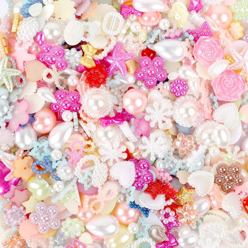 YIQIHAI 900pcs Flatback Rhinestones Pearls Resins Random Embellishments for Crafts Mixed Styles Loose Gems for DIY