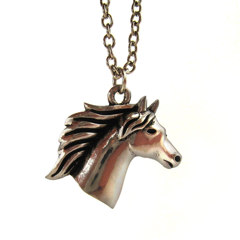 Cadena caballo en plata bañada Niños Caballos Colgante Regalo para Chica