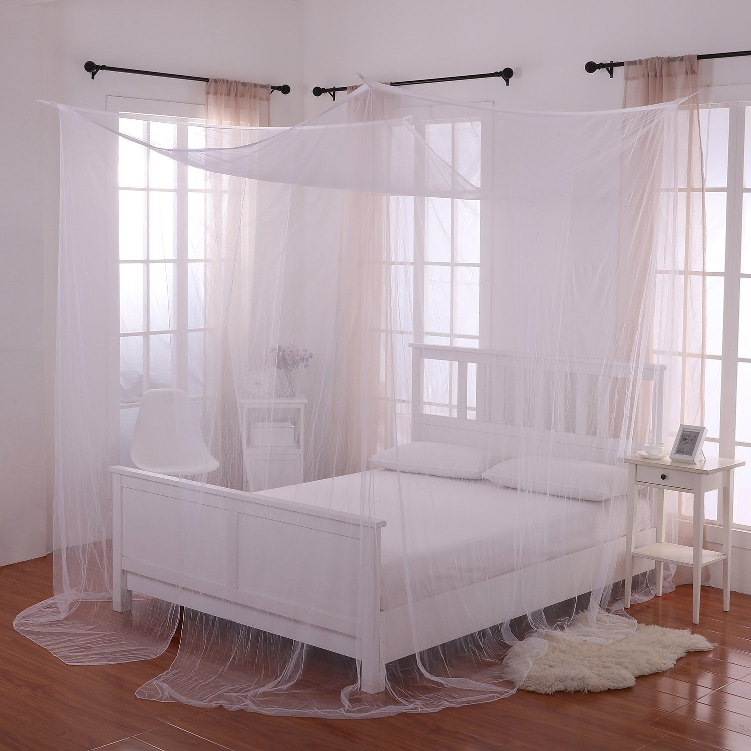 4 Corner Post Bed Canopy Mosquito Net Full Queen King Size Netting Bedding White4-Post Canopy by Best Music Posters (Image #5)