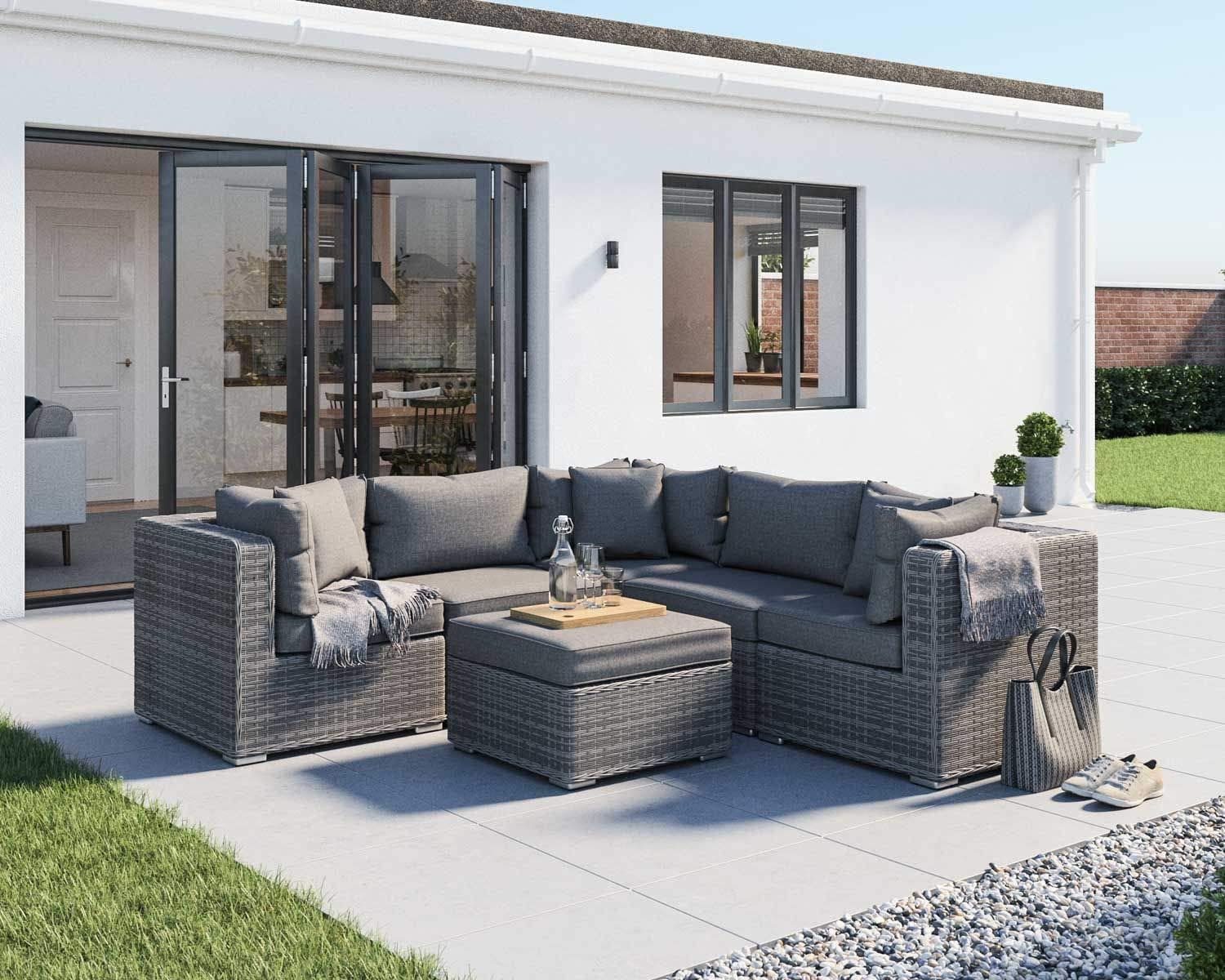Amazon Com Outdoor Conversation Sets Rattan Patio Furniture Clearance No Assembly Wicker Ottoman Aluminum Outside Sectional Couch Sofa Patio Seating 6pcs Backyard Furniture W Free Waterproof Cover 3toss Pillows Garden Outdoor