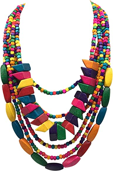 Wood Bead Necklace Multicolor Bead Necklace