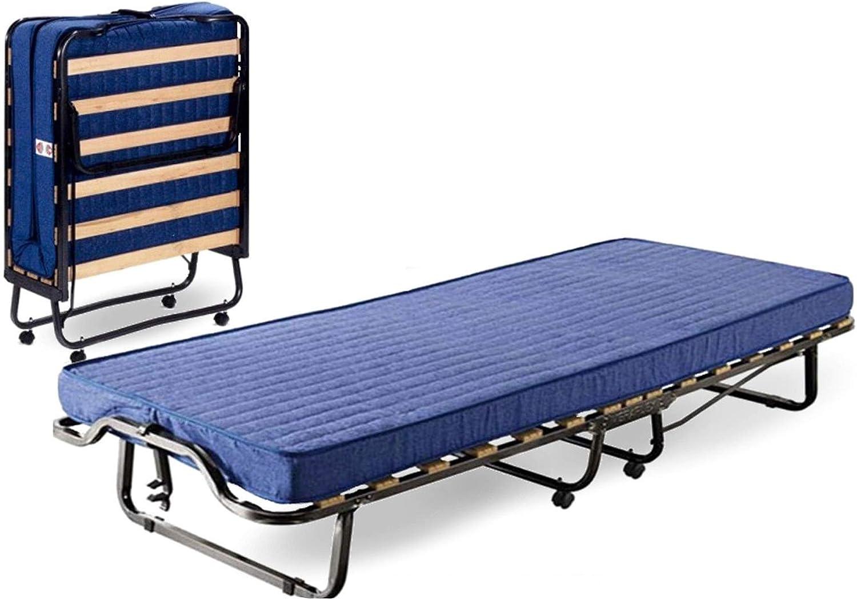 Cama Branda Brandina cama plegable de hierro óxido con ruedas y colchón para invitados Casa Camera Camping Camerata de emergencia con 15 láminas ...