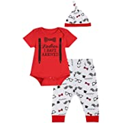 iCrazy Baby Boys' Funny Gentleman Bodysuit with Bib (3-6 Months, Red01)