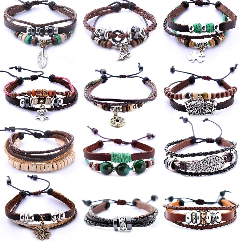 Lederarmband für damen  Morella Damen Armband aus Leder mit Ringen, Beads und Blumen ...
