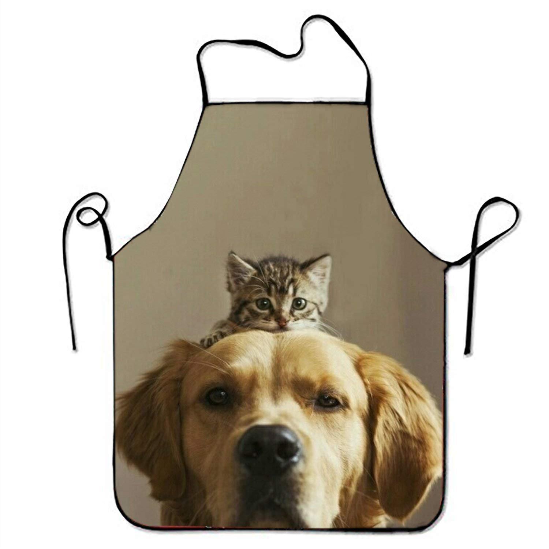 猫犬の愛キッチン料理エプロンレディースとメンズ調節可能なネックストラップのレストランホームキッチンエプロンよだれかけ、BBQ、料理   B07FXZ395Z
