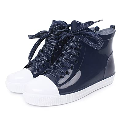 Luise Hoger New Fashion Women Lace-Up Rain Boots Female Non-Slip Ankle Rainboots Candy Colors Woman Water Shoes Pvc Navy Blue 5