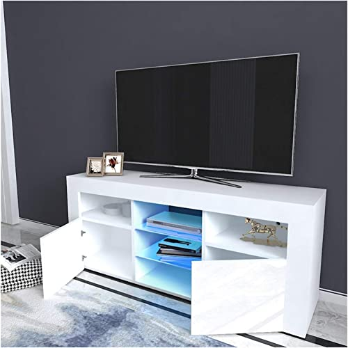 TV Stand High-Gloss LED Lights Media Console Modern Wood TV Desk Entertainment Center Table Storage Cabinet