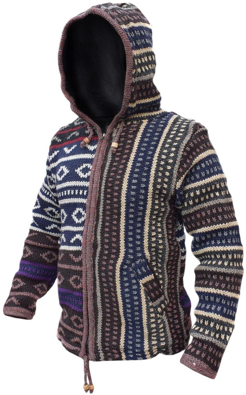 Little Kathmandu Half Diamond Pattern Woolen Fleece Lined Winter Jacket