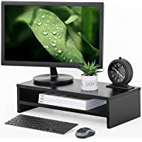 FITUEYES Wood Monitor Stand 2 Tiers Fax/Printer Riser Desk with Keyboard Storage Space, Desk Organizer for Home Office…