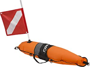 Cressi Inflatable Float Signal Board for Freediving, Scuba Diving, Dive Flag, Hi-Visibility Orange, Reflective Strip, D-Rings   Torpedo: Designed in Italy, Model: TA611603