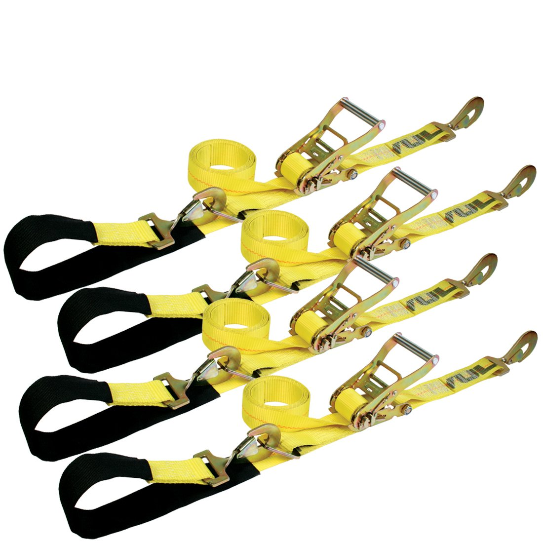 Vulcan Classic Yellow Series 1-Ply Flexible Axle Tie Down Combo Strap w/Snap Hook Ratchet (2'' x 102'' Pack of 4) Safe Working Load - 3,300 lbs.