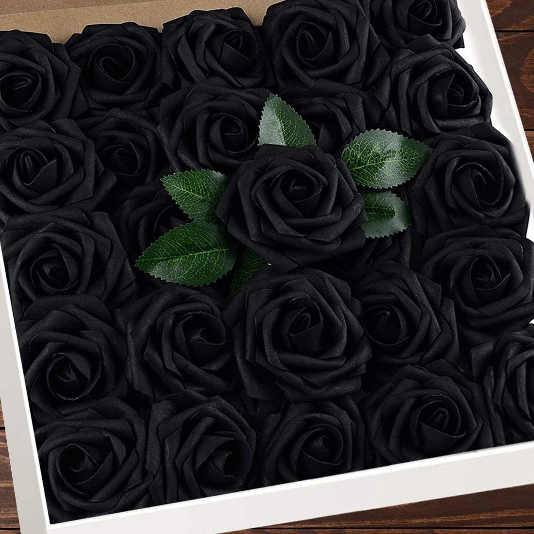 Higfra Artificial Flowers Black Roses W/Stem, Rustic Farmhouse Decor for Home Wedding Kitchen and Office Ideal Bridal Shower Party Home Decorations 25pcs