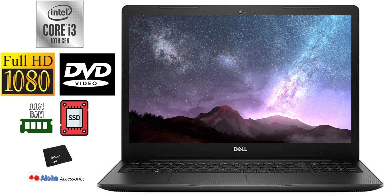 Dell Inspiron 3793 Premium 17.3'' FHD 1080P Non-Touch Laptop Computer Intel 10th Gen i3-1005G1 up to 3.4GHz 16GB RAM 512GB M.2 PCIe SSD Webcam DVD-RW HDMI WiFi Bluetooth Windows 10 Home Aloha Bundle