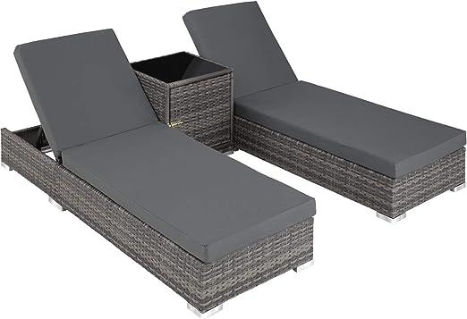 Sdraio Rattan Sintetico Prezzi.Tectake 2x Lettino Alluminio Poly Rattan Tavolo Set Giardino