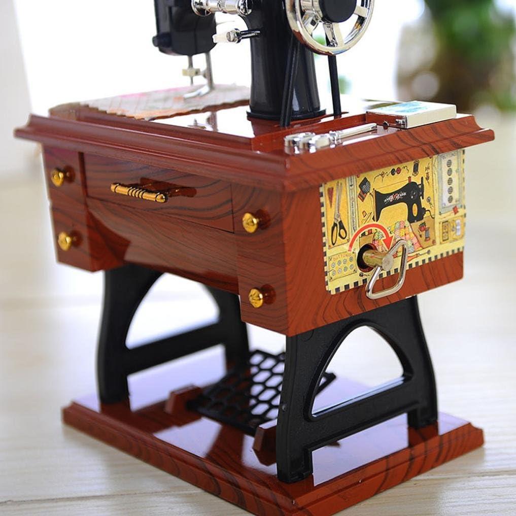 Xshuai vintage Bo/îte /à musique de simulation Mini machine /à coudre Style m/écanique r/étro 5,5/Sartorius D/écoration de table pour enfants anniversaire Cadeau jouet Small 12*7.7*16cm