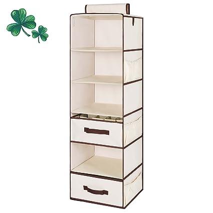Hanging Closet Organizer, Foldable Closet Hanging Shelves With 1 Drawer U0026 1  Underwear Drawer By
