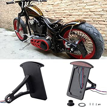 Amazicha LED Tail Brake Rear Light 3//4 Hole Curve Side Mount License Plate Bracket for Motorcycle Harley Honda Yamaha