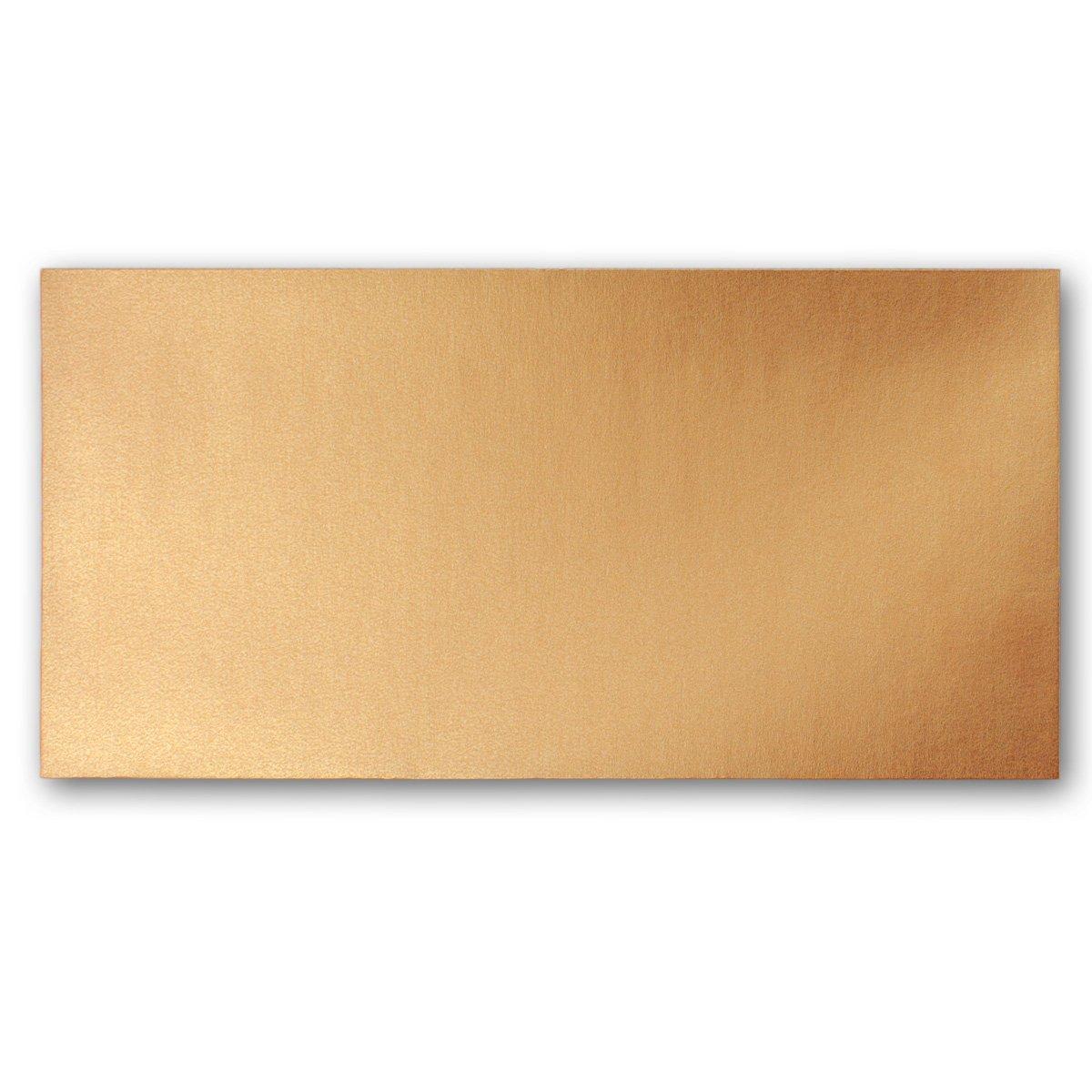 Ideal f/ür Einladungs-Karten Serie FarbenFroh/® 150 Brief-Umschl/äge Kupfer Metallic DIN Lang 110 x 220 mm - Nassklebung ohne Fenster 11 x 22 cm