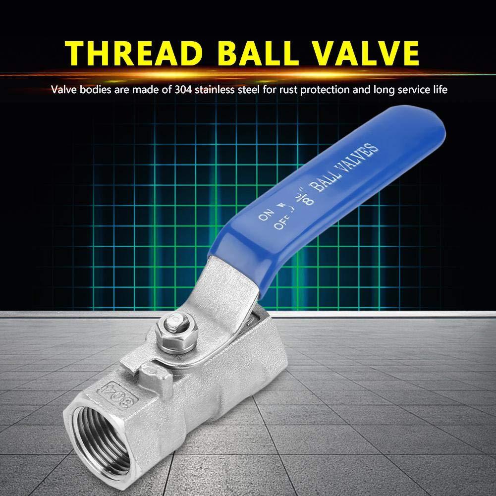 Vanne /à Sph/ère,Acier Inoxydable 304 BSP Filetage Femelle 6 Tailles 1BSP Vanne /à Sph/ère 2 Voies Levier Rotatif Poign/ée Bleue