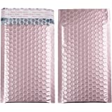 4x8 Inch Matte Metallic Bubble Mailers Padded Bubble Lined, Self Seal Poly Envelopes Bag- 25pcs (Rose Gold)