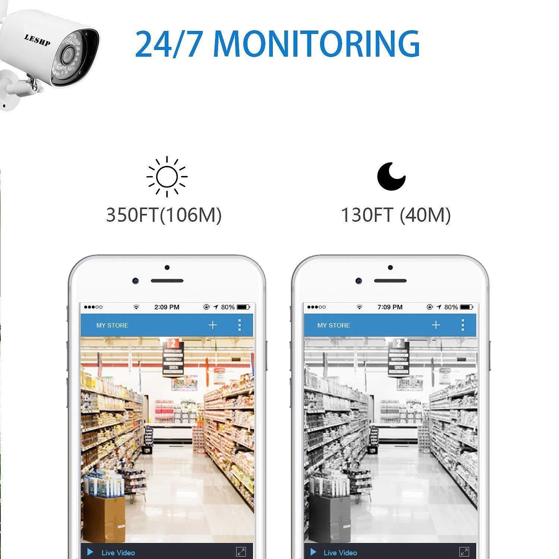 NVR, Wi-Fi, CCTV, wasserdicht, steckbar, Nachtsichtsystem WellingtonOak Wireless Internet Protocol IP mit Anwendungsalarm 1080P-Video/überwachungssystem
