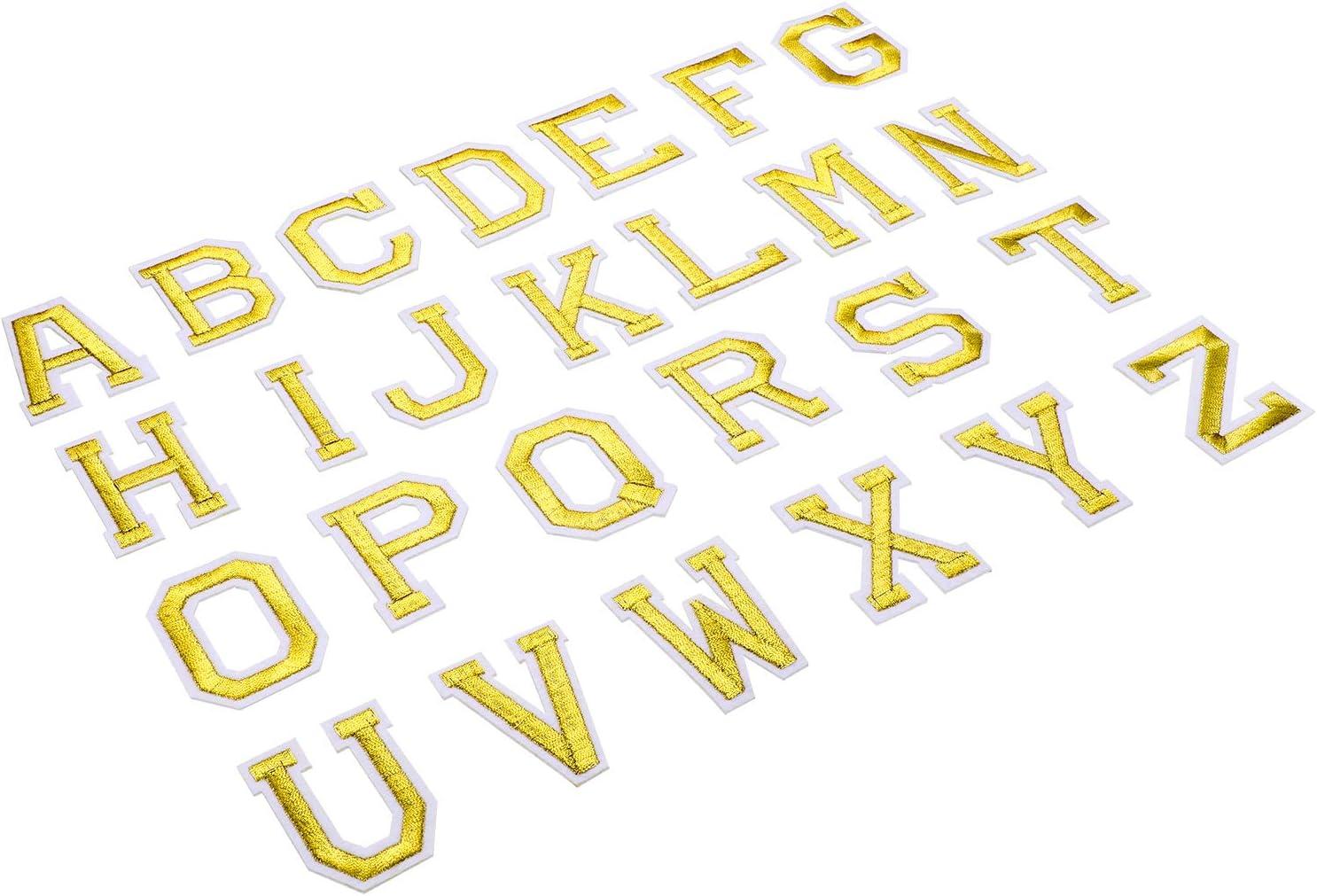 Dorado 52 Piezas Parche de Planchar en Letras Apliques de Alfabetos de Costura con Letra Adhesiva Planchada Parche Decorativa de Reparaci/ón Bordado de A-Z para Zapatos Sombrero Bolsa Ropa