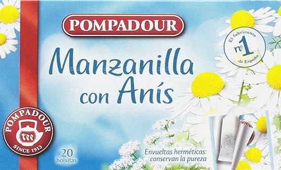 Pompadour Té Infusion Manzanilla con Anís - 20 bolsitas - [Pack de ...