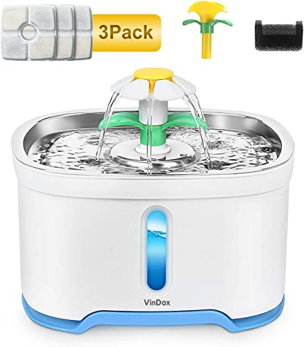 VinDox Cat Water Fountain, 84oz 2.5L Pet Water Fountain Stainless Steel for Cat and Dog,Auto Power Off Pump, Pet Fountain, Pet Dispenser with 3 Replacement Filters, Water Level Window with LED Light