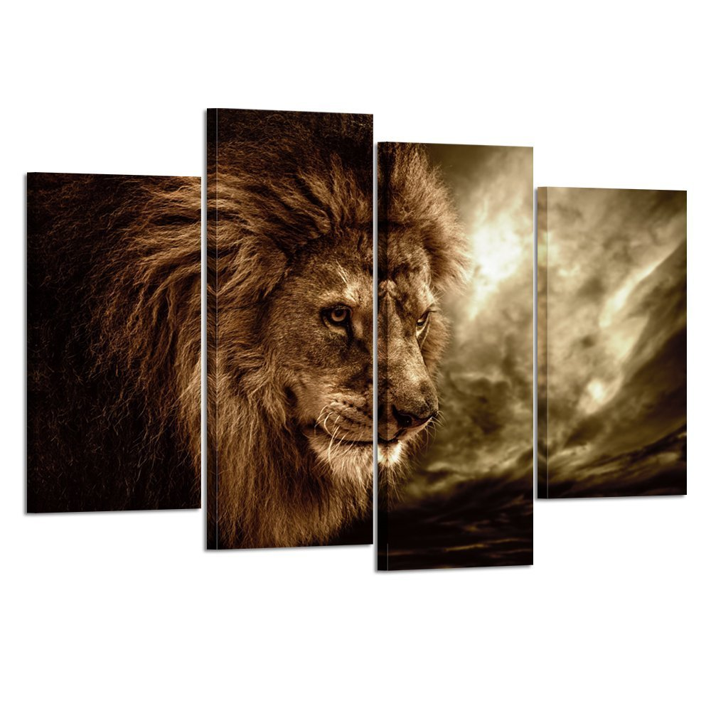 Kreative Arts - Lion Wall Art Canvas Painting Framed and Ready to Hang 4 Panels Large Contemporary Pictures Abstract Lion Canvas Prints for Home Living Room Bedroom Decoration