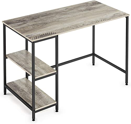 Ballucci Vintage Computer Office Desk, Writing Workstation with Storage Shelves, 47 Inch Wood Accent Table with Matted Metal Frame, Gaming Desk, Rustic Grey
