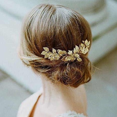 Aukmla Serre,tête de mariée avec feuilles de vigne et strass dorés pour  mariée et demoiselle d\u0027honneur