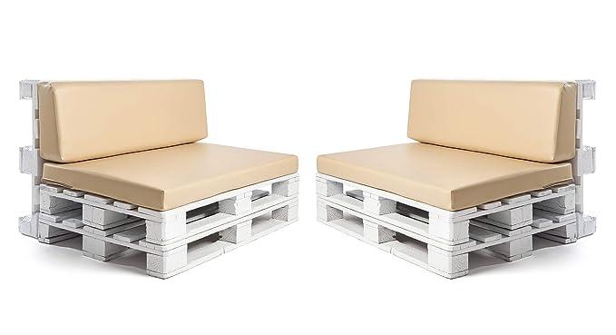 Conjunto colchonetas para sofas de palet y respaldos (2 x Unidades) Cojin relleno con espuma. Color Beige | Cojines para chill out, interior y ...