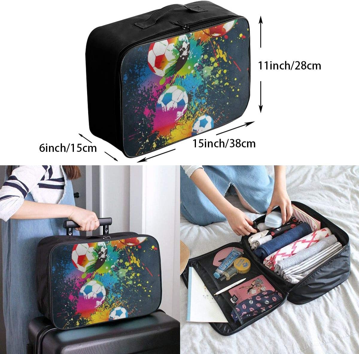 Travel Bags Colorful Football Soccer Colored Portable Suitcase Inspiring Trolley Handle Luggage Bag