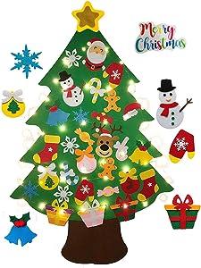 3.8 Ft Felt Wall Hanging Christmas Trees Set with 50 LED Lights Christmas Tree Xmas Ornaments