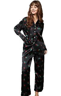 CLC Womens Silk Pajama Sets Nightshirt Patterns Printed Sleep Sets
