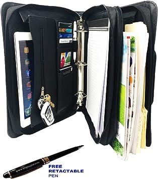 -DC3062 Padfolio 3-Ring Binders Upgraded-PU Leather- Black Folder File Divider Organizer Planner Trave Briefcase Portfolio w//Smart Handle /& Double Zippered Closure