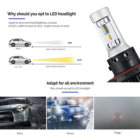 Amazon.com: WICHEMI 7HL 3000K 6500K Two Colors H13 Hi/Low Beam LED Headlight CSP Chips 50W Auto LED Bulb Car Headlamp 12V Driver 24V: Automotive