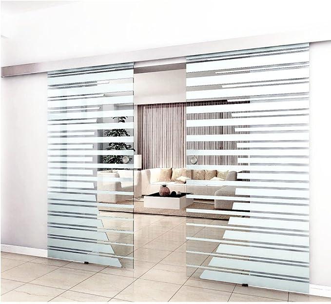 Puerta corredera de cristal de colour para puerta de cristal doble para puerta corredera en el diseño de rayas con diseño de concha de la manilla, transparente, 2 x 100cm: Amazon.es: Hogar