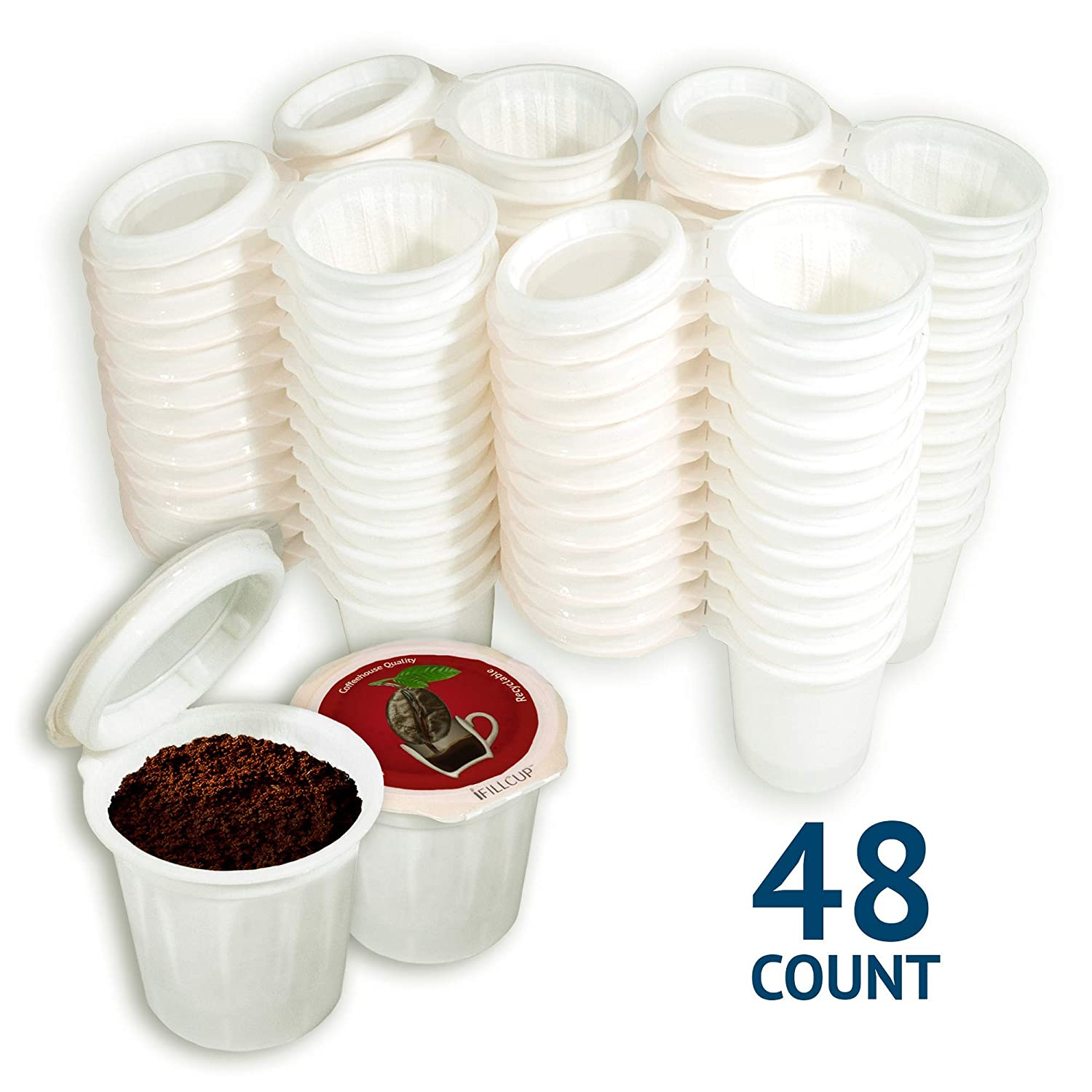 iFillCup pre-assembled Single Serve, fill your own Pods. Red Label. 100% recyclable for use in all k cup brewers including 1.0 & 2.0 Keurig. 48 iFill Cup airtight seal in freshness pods. (Red)