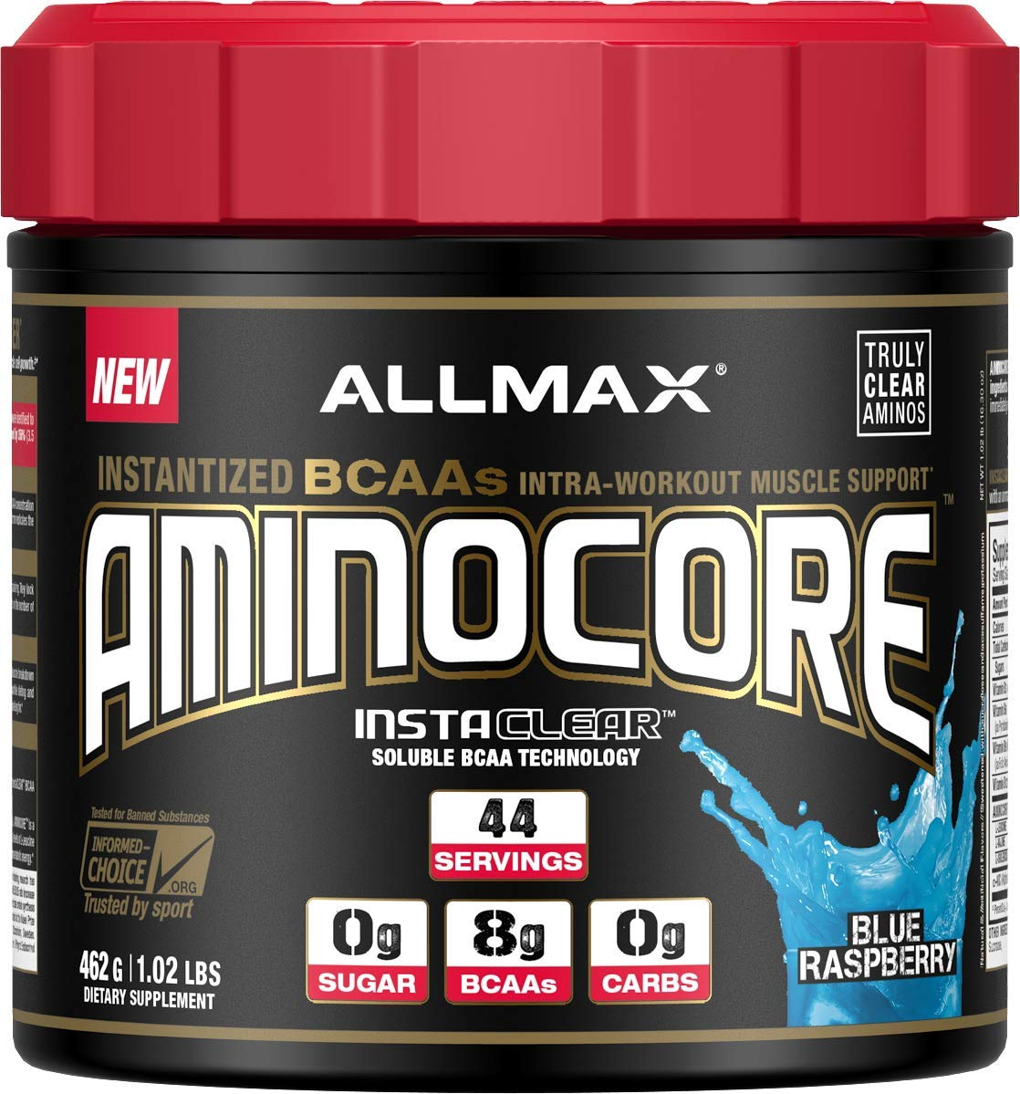 ALLMAX Nutrition Aminocore BCAAs, 100 Pure 45 30 25 Ratio, Blue Raspberry, 462 g