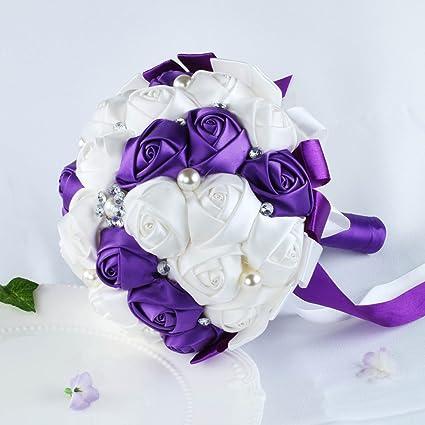 Amazon.com: vLoveLife White & Purple Satin Rose Wedding Bouquets ...