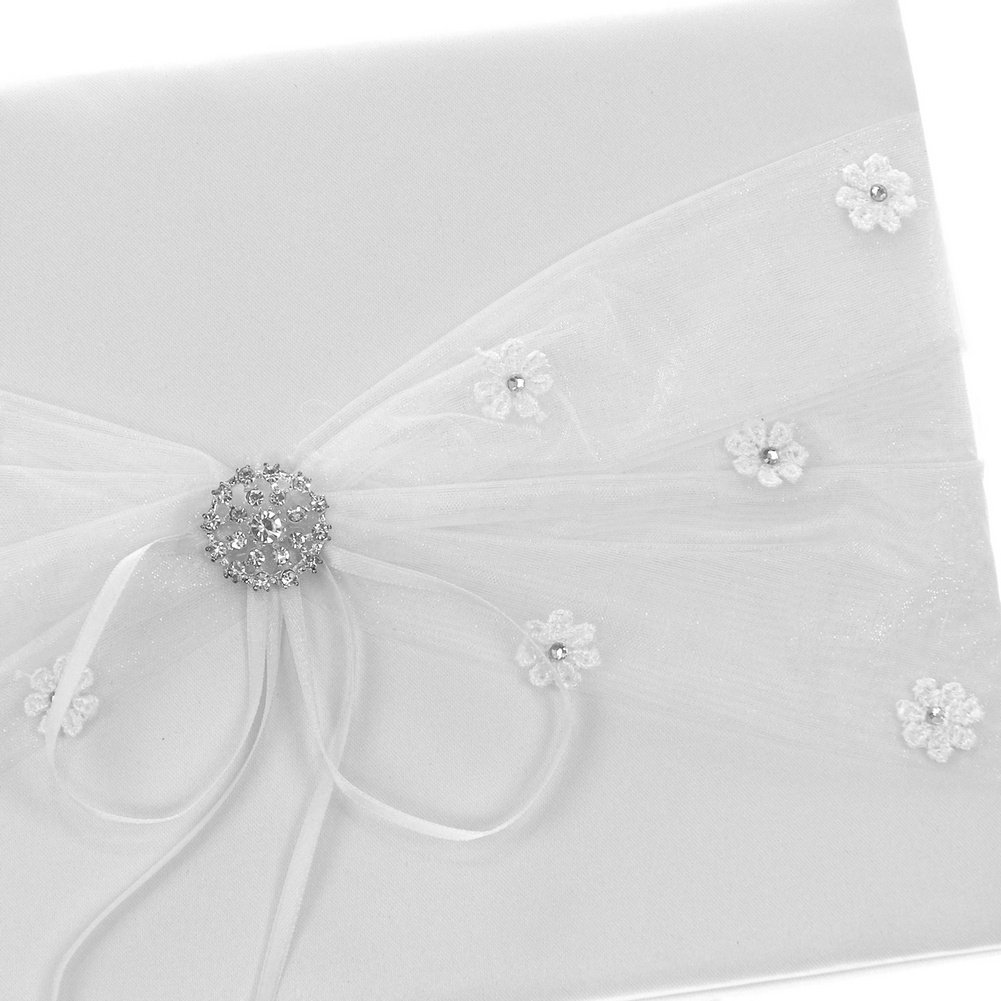 DivaDesigns Floral Ribbon Lace Crystal Button Organza Guest Book White