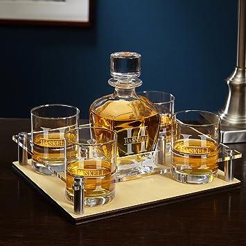 Oakmont personalizada servir bandeja con decantador y vasos 6 pc