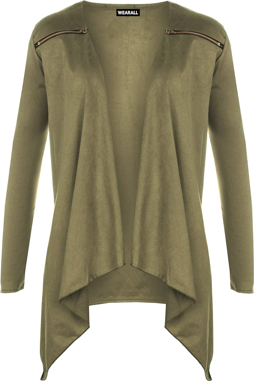 WearAll Women's Suede Look Long Sleeve Cardigan