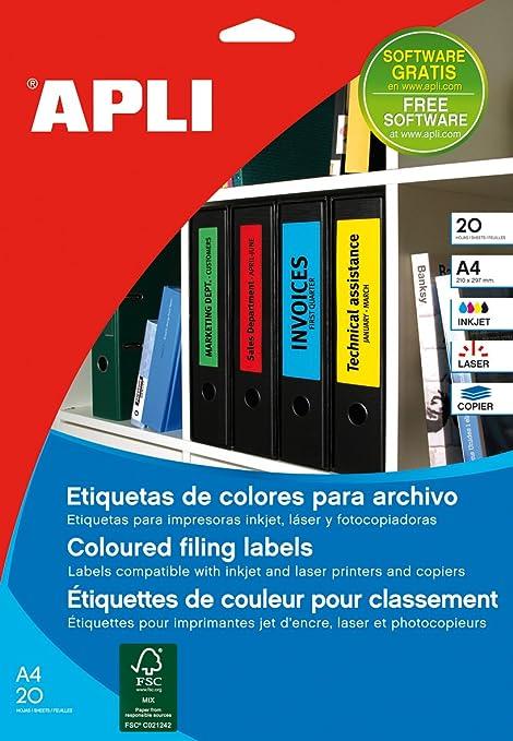 Apli 001374 – Lote de 80 – Etiquetas para lomo de archivadores 190 x 62 mm