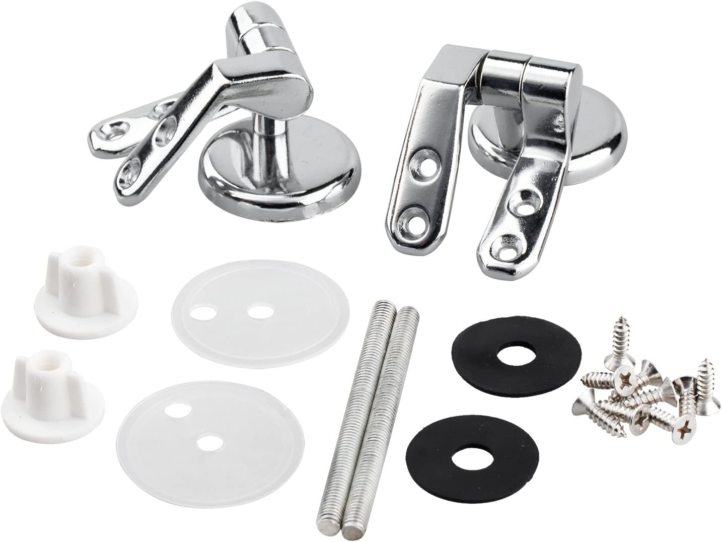 TRIXES Toilet Seat Hinges Pair of Chrome Finished Replacement Hinges For Wood Toilet Seats Including Fittings
