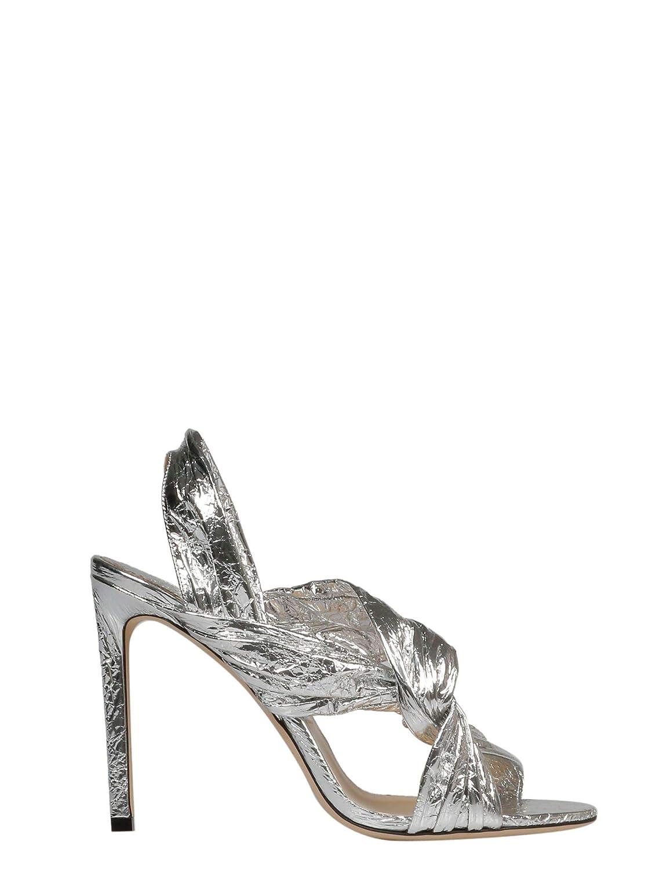 - Jimmy Choo Women's LALIA100TFCSILVER Silver Leather Heels