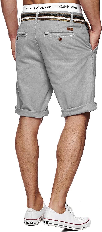 Indicode Caballero Cuba Pantalones Cortos Chinos con 5 Bolsillos y cintur/ón de 100//% algod/ón M/ás Corto Pantal/ón Regular Fit Bermudas Verano Men Pants Chino para Hombres