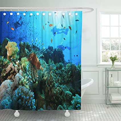 Breezat Shower Curtain Red Underwater Coral Reef And Scuba Divers Blue Sea Waterproof Polyester Fabric 72